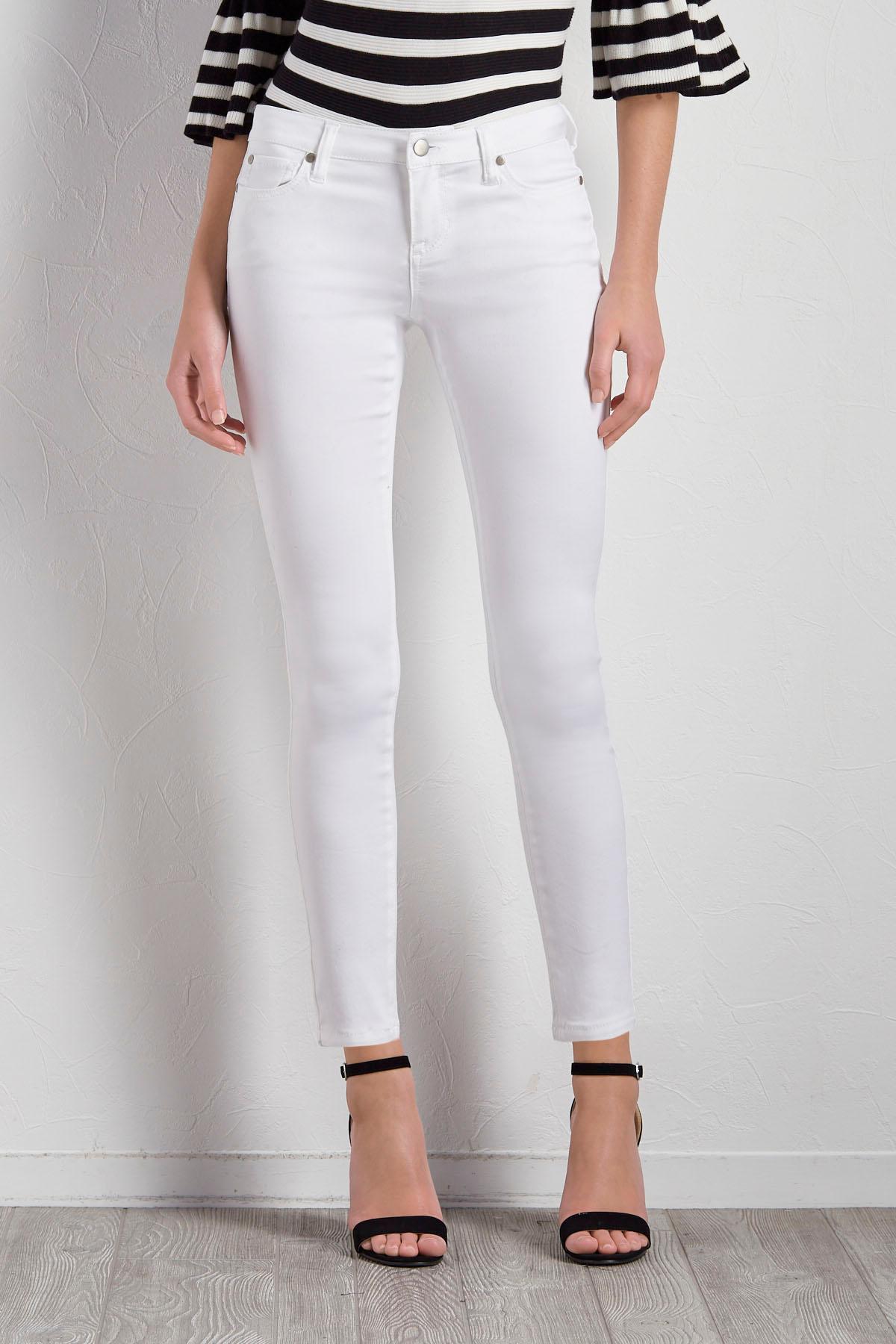 White Skinny Twill Pants