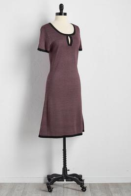 micro houndstooth shift sweater dress