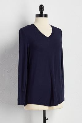 textured trim knit top