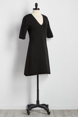 textured a-line sweater dress