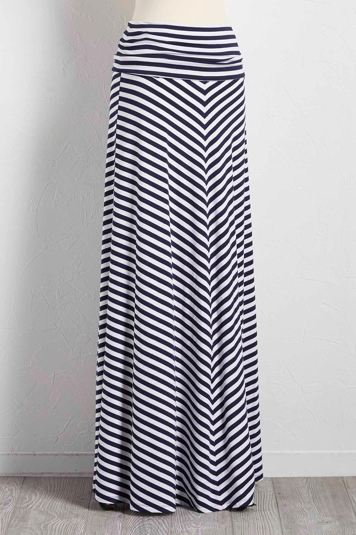 Mitered Stripe Foldover Maxi Skirt