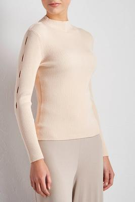 notch sleeve mock neck sweater