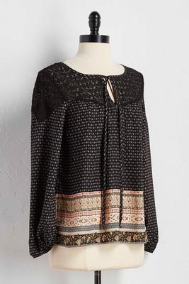 lace shoulder border print poet top