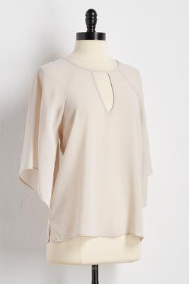 cutout split bell sleeve top
