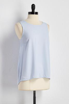 twill pleat back high-low tank
