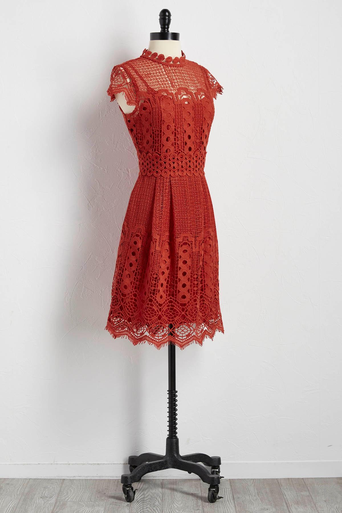 Crochet Mock Neck Dress