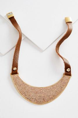 rhinestone crescent statement necklace