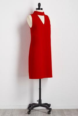 cutout mock neck shift dress