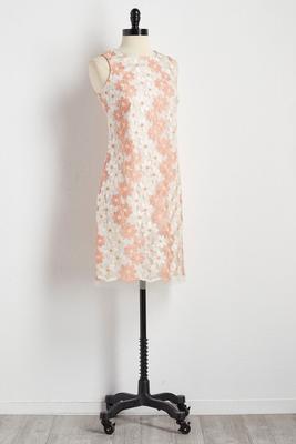 daisy lace overlay sheath dress