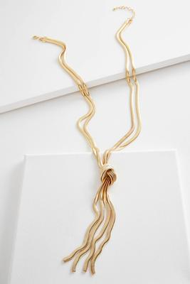 tasseled snake chain necklace