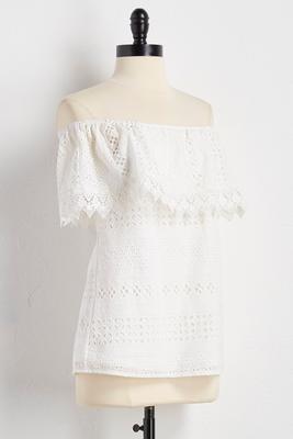 eyelet crochet off the shoulder top