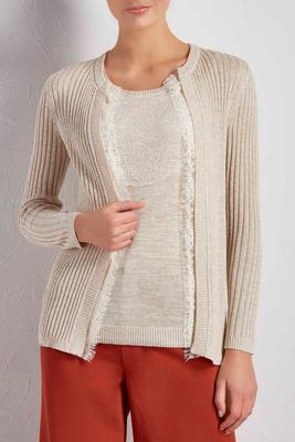 lace trim ribbed cardigan