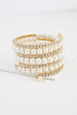 rhinestone pearl coil bracelet