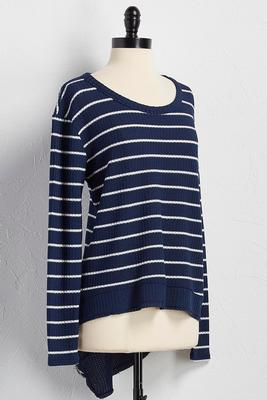 striped waffle knit asymmetrical top