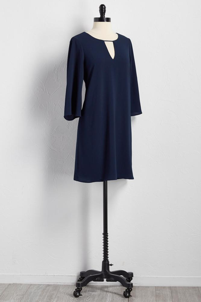 Cutout Neck Bell Sleeve Shift Dress
