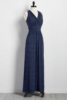 faux denim maxi dress