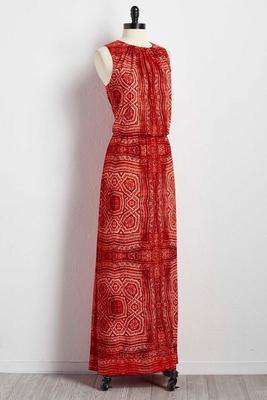 geo-tribal blouson maxi dress