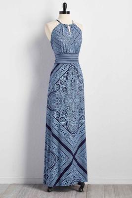 striped paisley cleo neck maxi dress