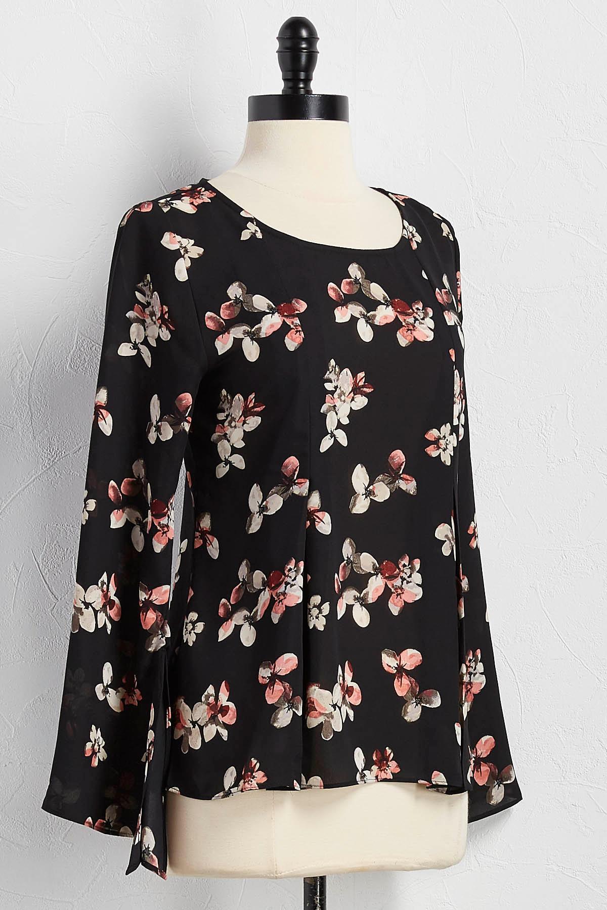 Pleated Hem Floral Top