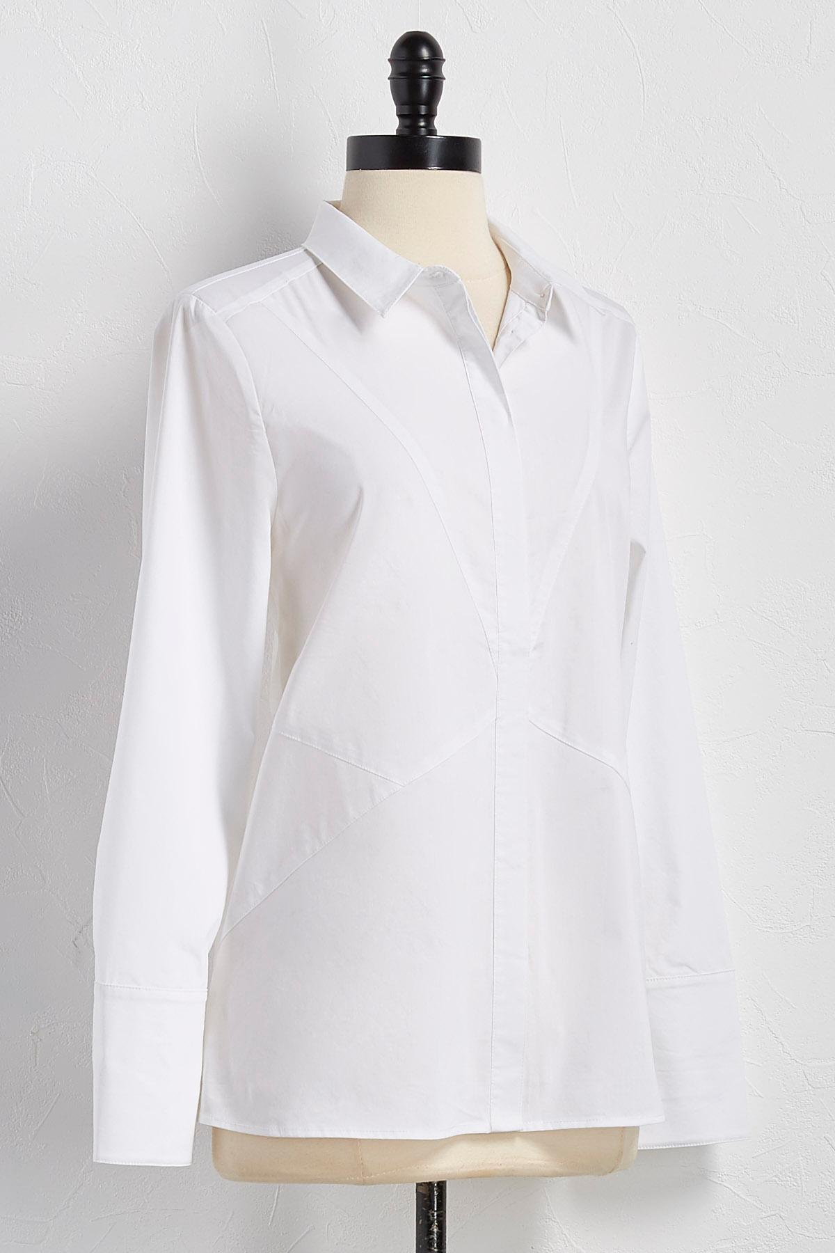Diagonal Seamed Button Down Shirt
