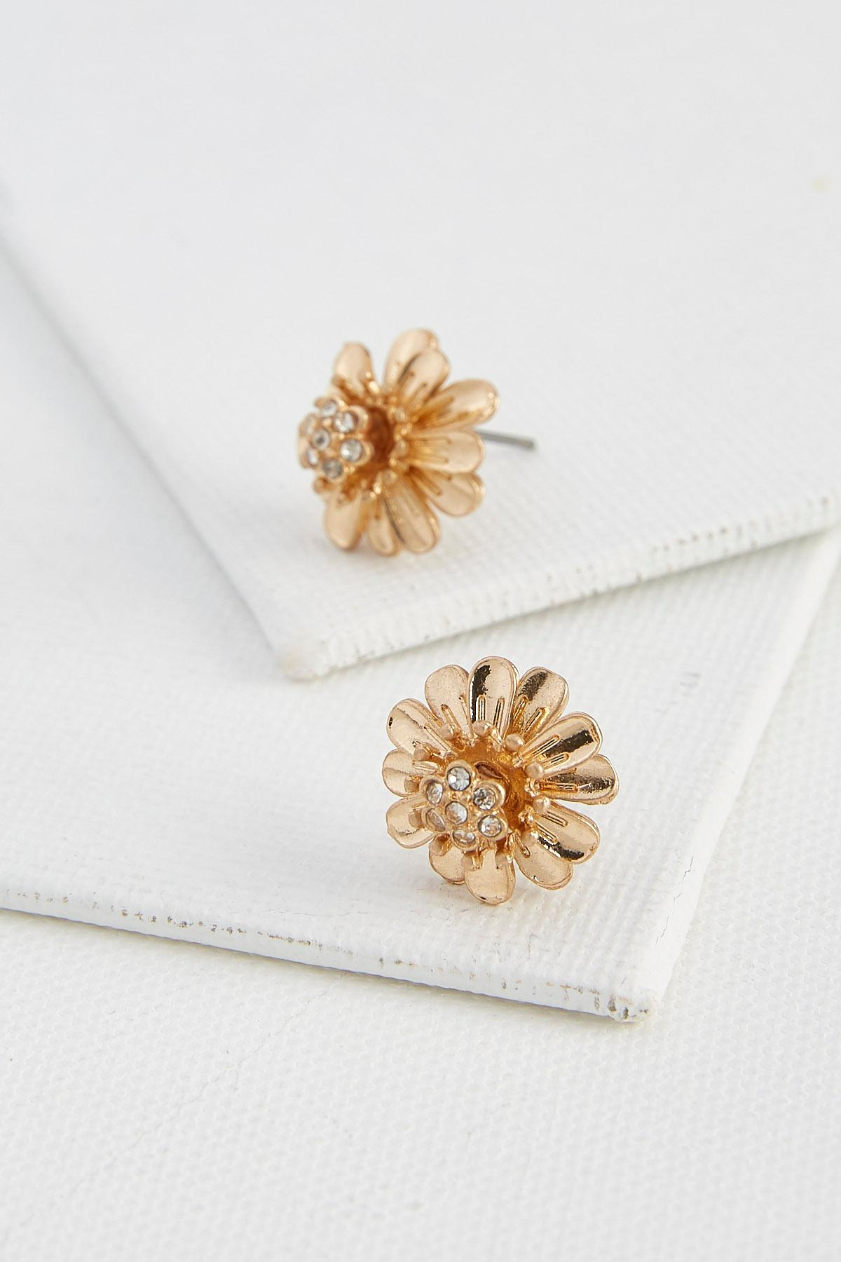 Stone Centered Flower Stud Earrings