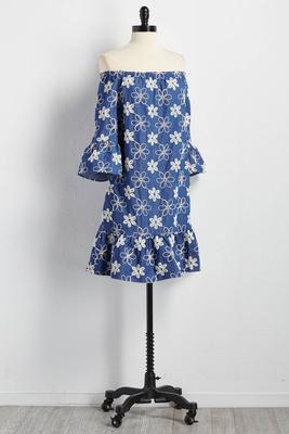 embroidered off the shoulder shift dress