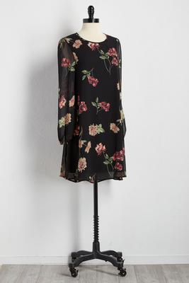 dark ground floral shift dress