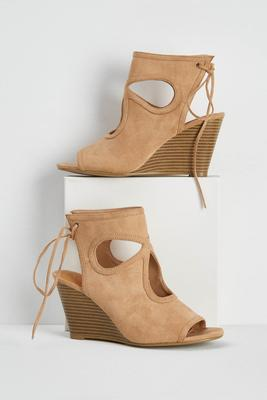 cutout lace up back shooties
