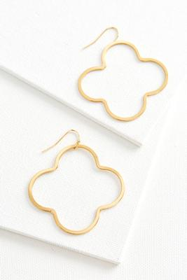 brass clover dangle earrings