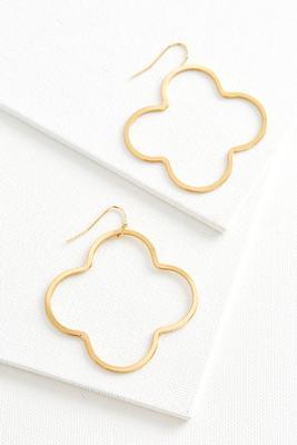 brass clover dangle earrings