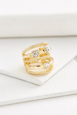 rhinestone multi band ring