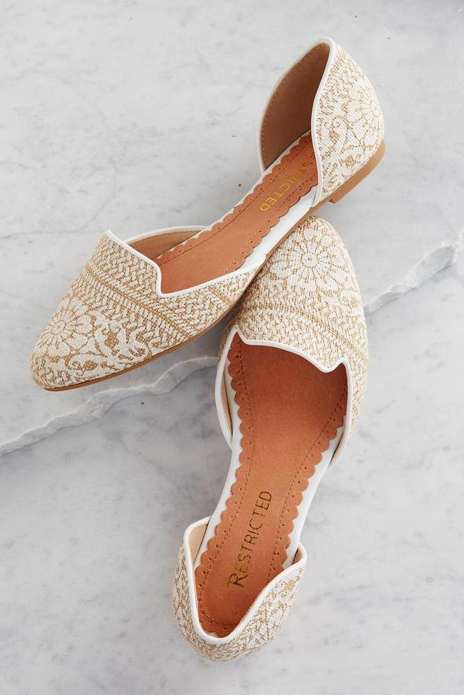 Embroidered Burlap Flats