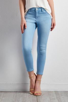 stretchy light wash skinny jeans