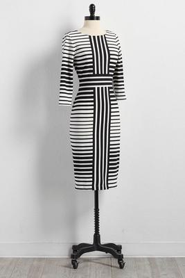 contrast striped sheath dress