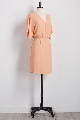 surplice blouson dress