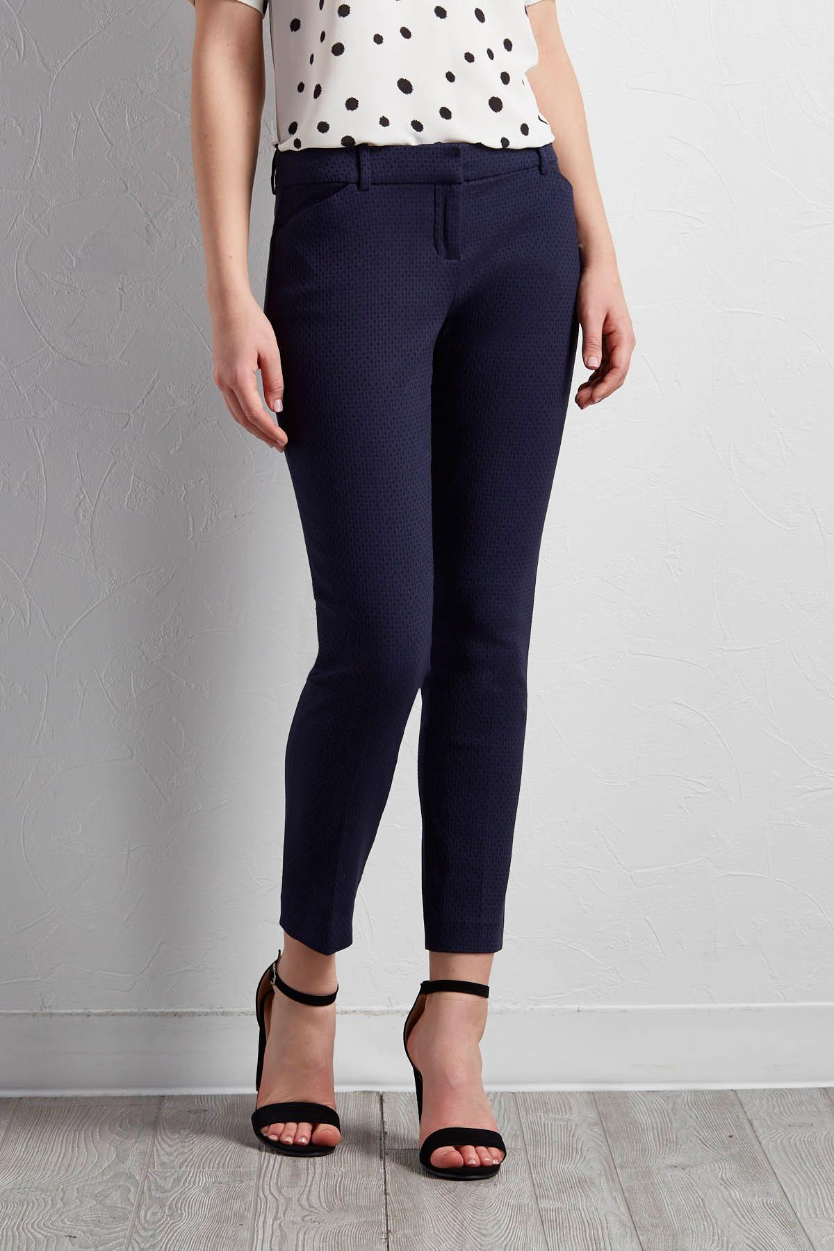 Honeycomb Textured Everyday Ankle Pants