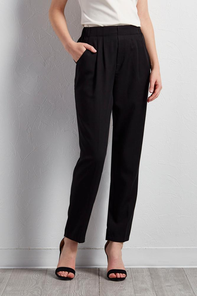 Pleated Straight Leg Pants