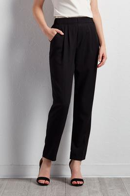 pleated straight leg pants