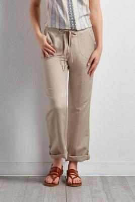 drawstring linen blend crop pants