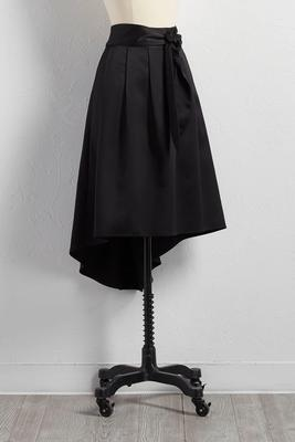 pleated satin high-low skirt