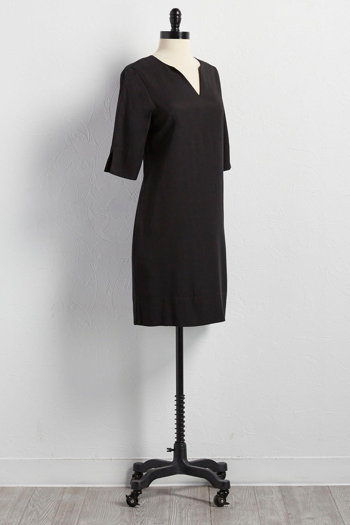 Chambray Split Neck Shift Dress