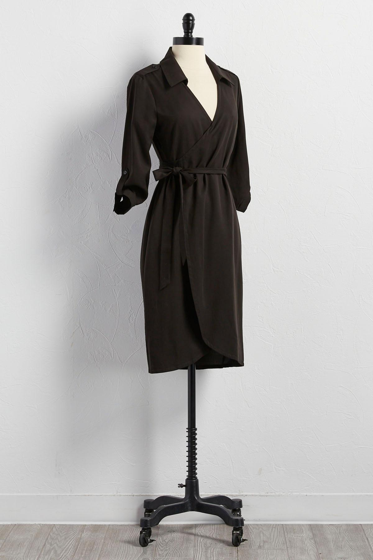 Belted Chambray Wrap Dress