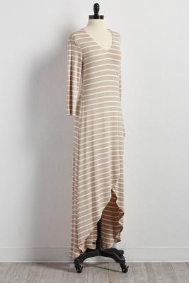 striped tulip hem maxi dress