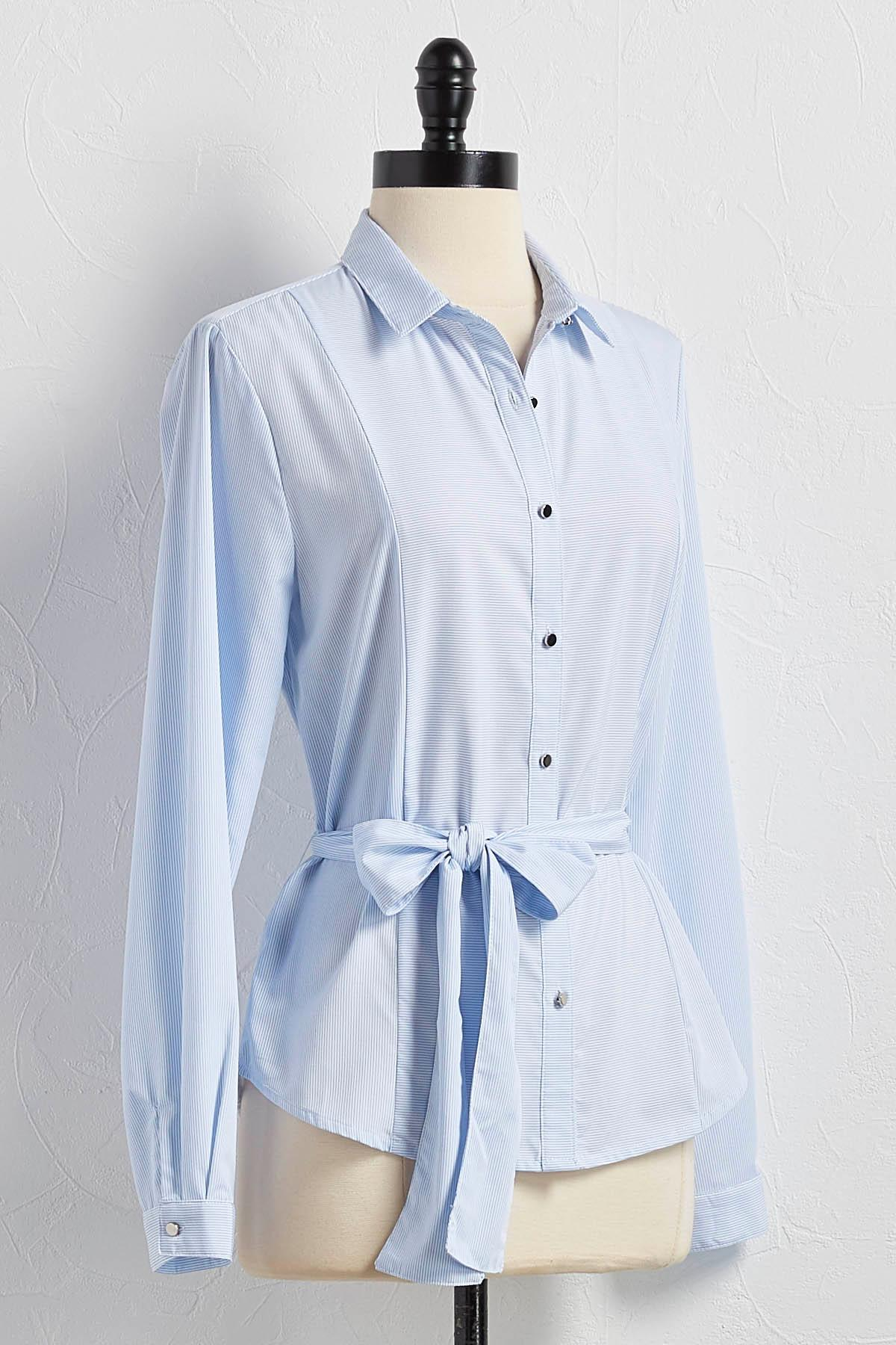 Belted Striped Button Down Shirt