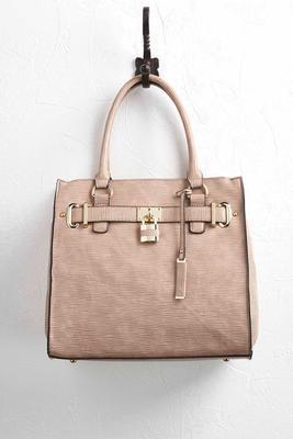 textured lock satchel