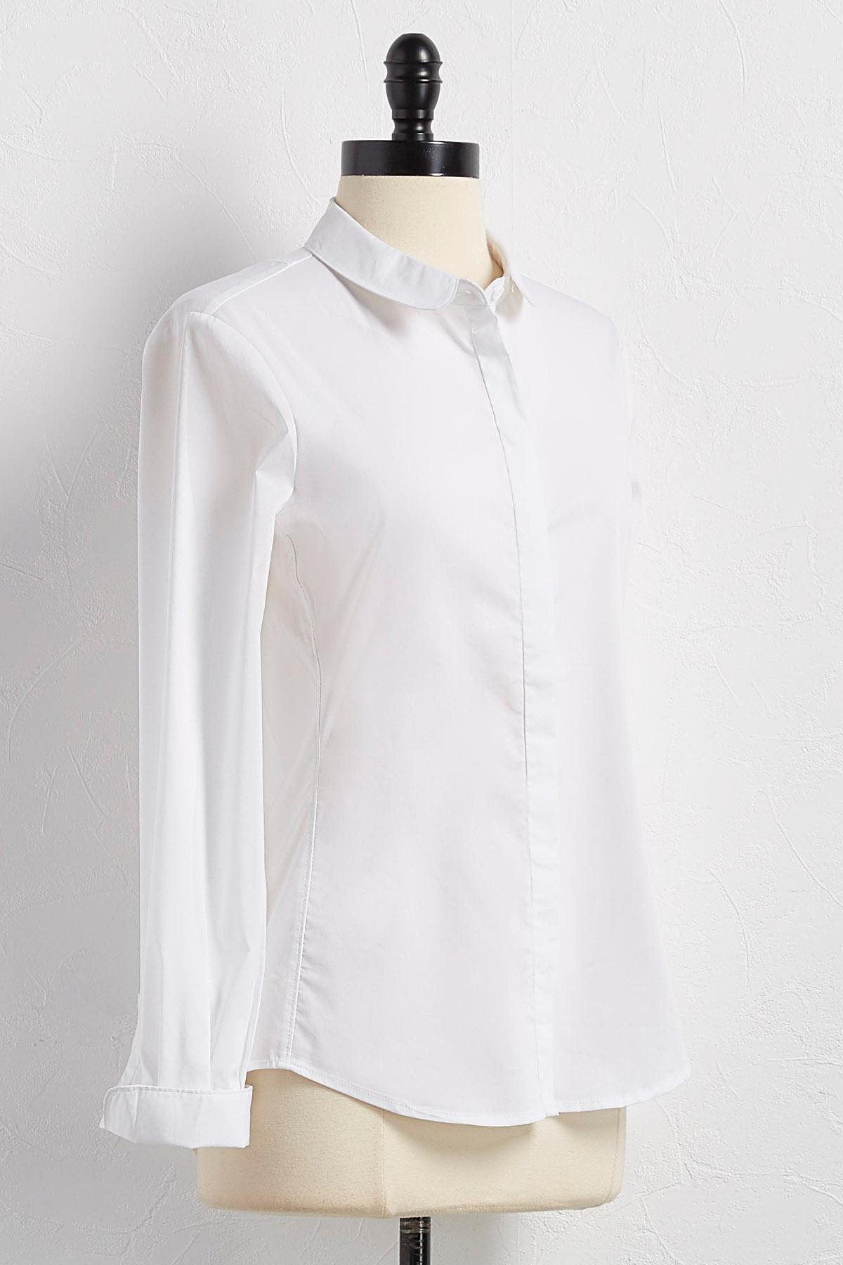 Peter Pan Collar Button Down Shirt