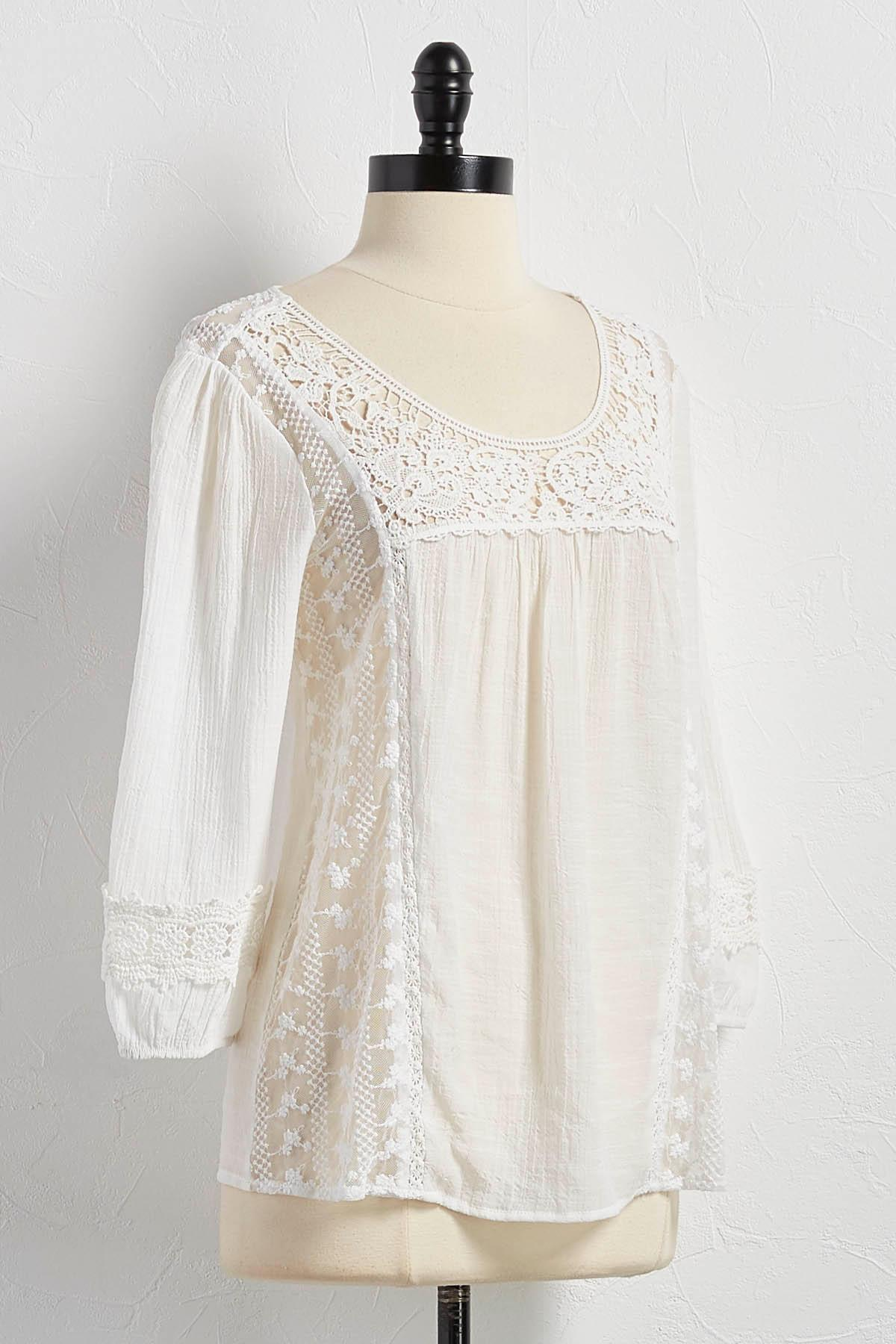 Embroidered Mesh Poet Top
