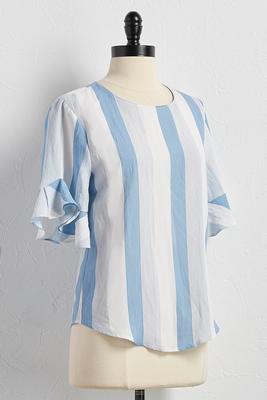 flounced sleeve mixed stripe top