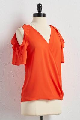 ruffled bare shoulder surplice top