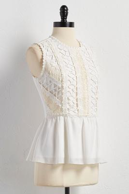 antique crochet peplum tank